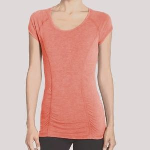 Zella Ruched Front Salmon Scoop Neck Athletic top